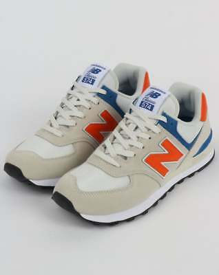 New Balance 574 Trainers in White, Orange & Blue - suede & nylon runners