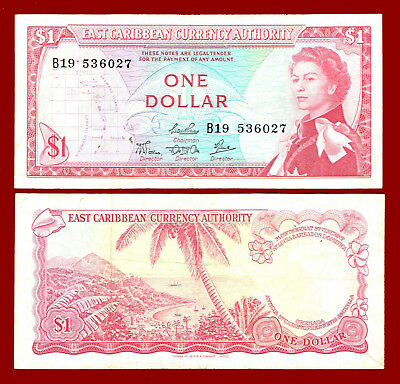 Good Ostkaribisch 1965 east Caribbean Currency Authority P-13e 1 Dollar Nd