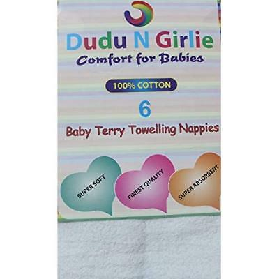 DUDU N GIRLIE Baby Terry Toweling 100% Cotton Nappies, White, 3 Piece