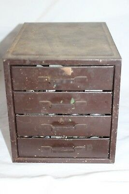 Vintage Small 4 Drawer Industrial Machinist Parts Bin Tool Chest Cabinet