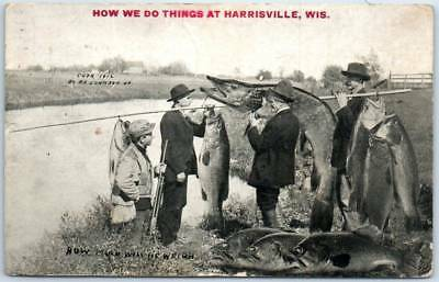 """Harrisville Wisconsin Postcard """"How We Do Things"""" Fishing Exaggeration Fish 1912"""