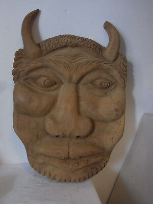 Huge Carved Wood Wall Ornament Devil Face #<