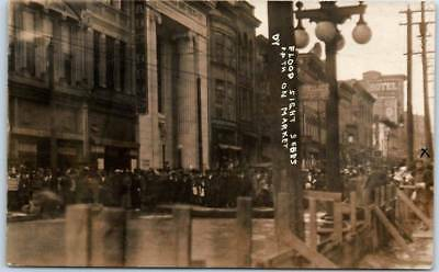 "1913 Wheeling WV RPPC Postcard ""Flood Sight-Seers on Market"" Kraus Bros. Store"