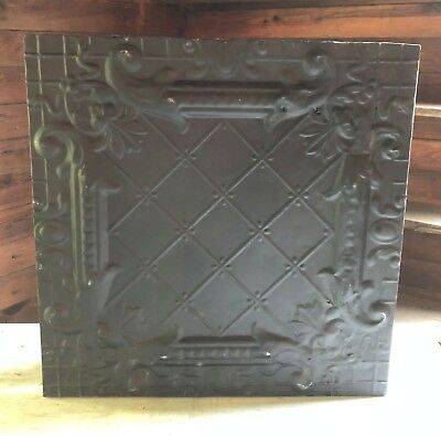 1890's  23 x 23 Antique Tin Ceiling Tile Flat Black Wrapped Wall Art 460-18