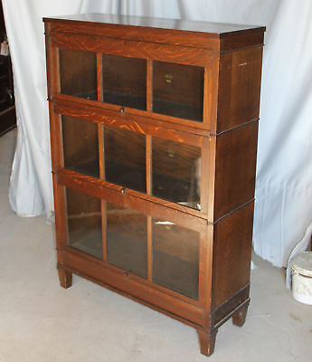 Antique Arts & Crafts Mission Oak Macey Bookcase – Three High Sectional Bookcase