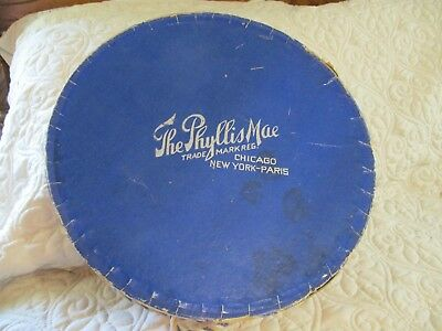 "Antique THE PHYLLIS MAE Hat Box Chicago New York Paris Red White Blue 12"" Round"