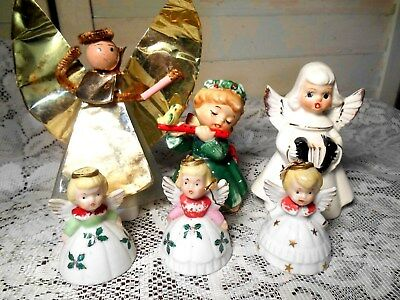 6 Vintage Christmas Angels-3 Bells,1 Playing Flute,1Playing Accordion,Aluminum+