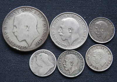 Great Britain (Uk), 6 Different Vintage Silver Coins, 1900 To 1941