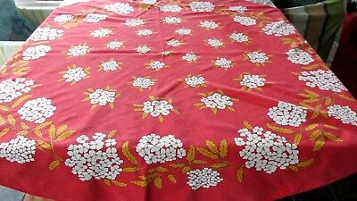 Vintage Round Red  white flowers Tablecloth 150 cms
