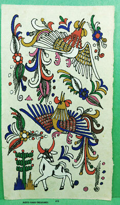 VINTAGE AMATE BARK PAPER PAINTING 6 x 3.50 INCHES COLOR on WHITE FROM MEXICO #12
