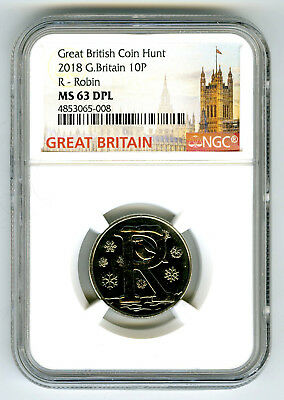 2018 10P Great Britain ' R '- Robin Ngc Ms63 Dpl British Coin Hunt Proof Like