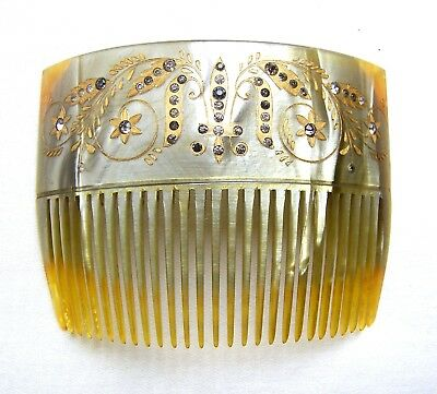 Victorian celluloid hair comb with rhinestones hair jewelry