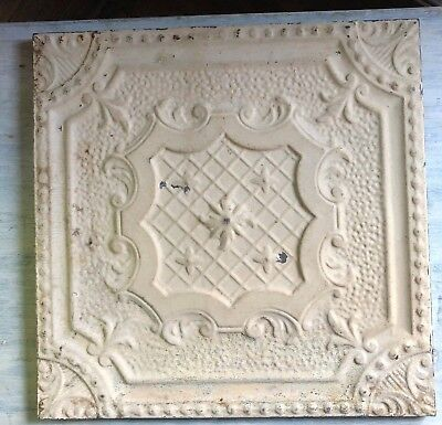 1890's  23 x 23 Antique Tin Ceiling Tile Malt Brown Wrapped Wall Art 462-18