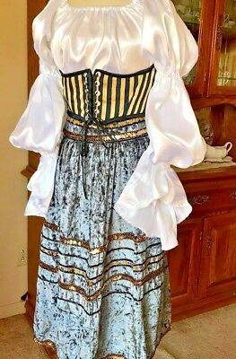 Adult Ladies Renaissance Dress Cosplay Medieval Pirate Gypsy Theatre 3 Piece New
