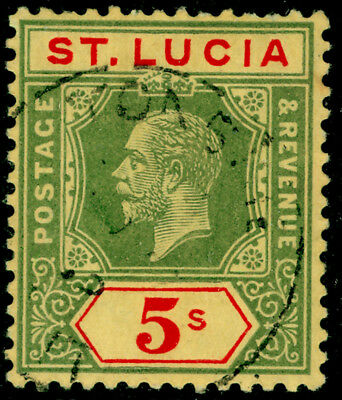 ST. LUCIA SG88, 5s green & red/yellow, VFU, CDS. Cat £85.