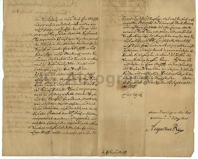 Augustus II the Strong - King of Poland 1696-1707 - Autographed 3 Page 1710 Doc.