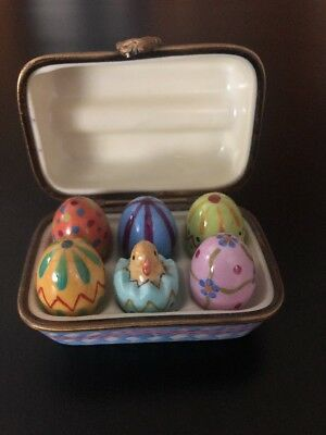 Limoges Trinket Box Peint Main France Elda Creations -  Egg Carton Easter