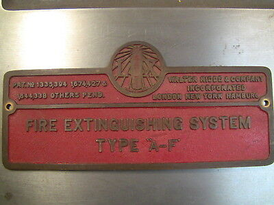 Antique Fire Plaque - Walter Kidde & Co.- Lux - Fire Extinguishing System -Brass