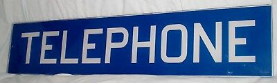 """Vintage BLUE GLASS PHONE BOOTH Insert Panel SIGN ~Public Telephone Booth ~25 ½"""""""