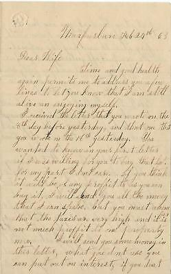 Union Soldiers Letter Emanuel Cave, 69th Ohio Vol Inf, to Wife from Murfresboro