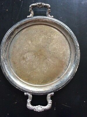 """Antique Silver Plate Over Copper Ornate Serving Tray With Handles Unmarked 12.2"""""""
