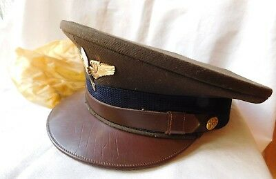 Vtg Ww11 Us Air Force Military Hat W Emblem & Cover Must See !!