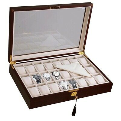 24 Watch Display Case Cherry Wood Glass Top Jewelry Box Collector Mens Gift