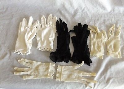 Lot 4 Pairs Young Ladies, Girls 1960s Vintage Gloves ~ Elegant Net Mesh, Formal