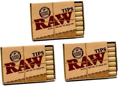 Raw Natural Unrefined Pre Rolled Quality Joint Filter Tips 3 Pack (21 Per Box)