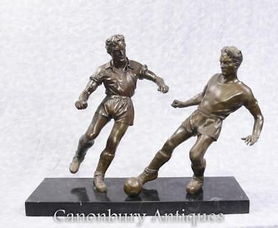 Pair English Bronze Football Players Soccer Art Sport