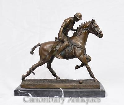 Bronze Polo Player Statue Horse Jockey Figurine Casting