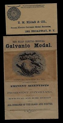 1879 New York Cover & Medical Illustrated Ad for Galvanic Medal - Remarkable !