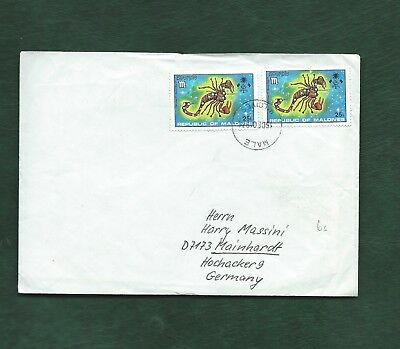 Maldives 1974 Scorpio star sogn zodiac stamps on cover Male to Germany
