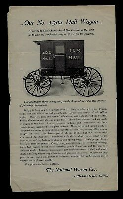 1870s National Wagon Co. Chillicothe, Ohio ILLUSTRATED U.S. Mail Wagon NICE !
