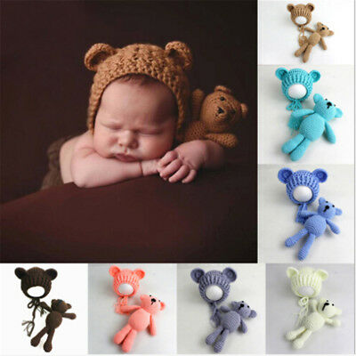 Newborn Baby Girls Boy Photography Prop Photo Crochet Knit Costume Bear +Hat FG