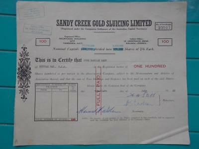 1962 Sandy Creek Gold Sluicing Limited 100 shares certificate signed mining