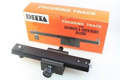 DELTA FOCUSING TRACK for Close-UP, Bellows use etc. Boxed, Mint. 1/4 & 3/8""
