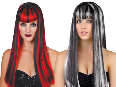 Adults Halloween Wig Ladies Vampiress Morticia Fancy Dress Costume Accessory
