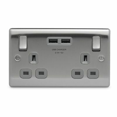 USB Electrical Double Wall Socket Brushed Crome With Grey Inserts