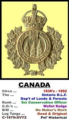 Wallet Badge • Canada • ON - DLF Snr' Conservation Officer. • 1930-52 • C-1879