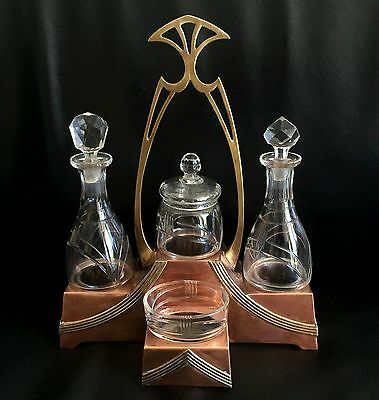 Arts & crafts set table copper brass WMF? oil vinegar pepper salt art nouveau