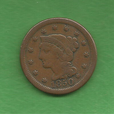 1850 Braided Hair, Large Cent - 168 Years Old!!!