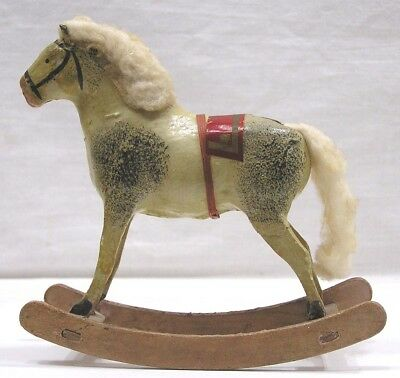 """Vintage Holiday Rocking Horse Composition Stick Legs Cotton Mane Tail Germany 6"""""""