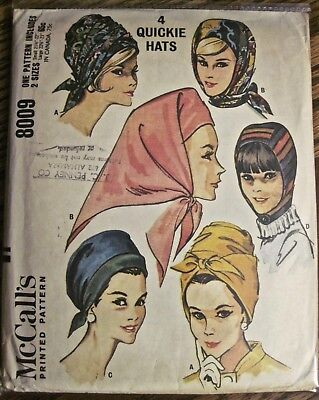 Vintage 1985 McCall's 4 Style Scarf Hat & Hood Pattern Sizes Small & Large