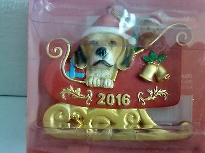 Little Gifts Beagle In Sled Hanging Christmas Ornament Dated 2016