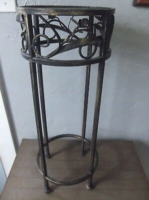 Light-Weight Metal 21 1/2-inch High Plant Stand with Raised Floral Design on Top