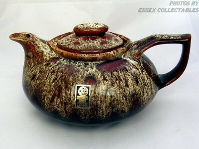 Vintage Fosters pottery traditional teapot in brown honeycomb VGC Label FREE P&P