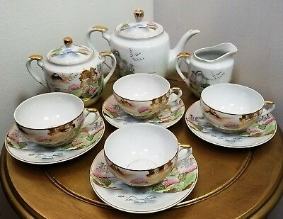 Vintage Japanese 20 Piece Kutani Hand Painted Tea Set w/Geisha Lithophane Cups