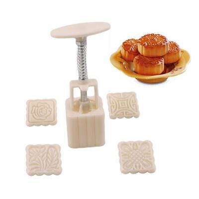 1Set Moon Cake Mould Mooncake Flowers Square 4 Stamps Mold Pastry Decoration W