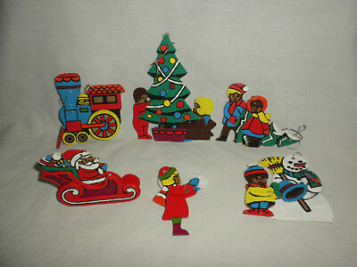 #29 VTG (6) Hand Painted UNUSUAL 3-D WOODEN Christmas Ornaments